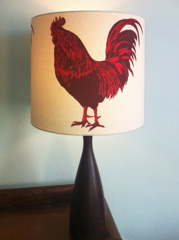 Coq! two colour cockerel screen-print on calico lamp shade, 30cm x 28cm