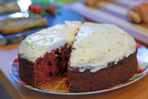 Delicious Home-made Beetroot cake with lemon and lime zest frosting.
