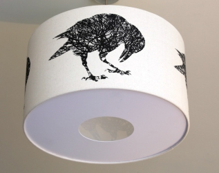 Corvus Quercus, Black Crow design screen-print on calico lamp shade with diffuser 450mmx265mm