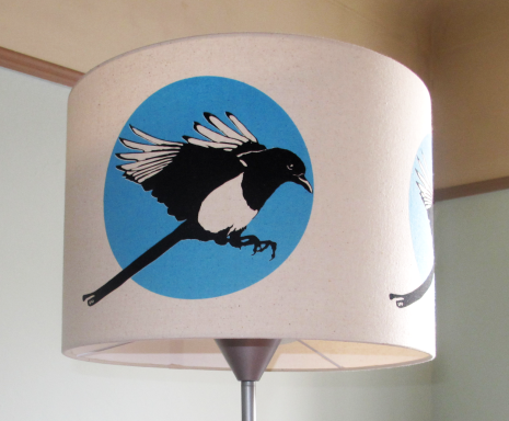 Magpie Flies:Two colour Magpie screen-print on calico lamp shade 400mmx280mm