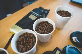 Blind tasting of various espresso beans to determine which we will serve