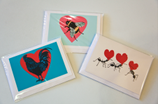 Valentine's Cards by Lou Smith £2 ea. More designs to follow. Coq! Heart, Bee my Valentine and Love Ants