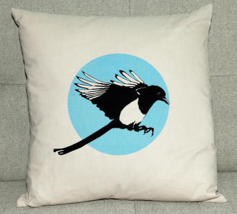 Magpie Flies. Magpie screen-print on 100% cotton cushion cover, with duck-feather filled pad. 45x45cm.