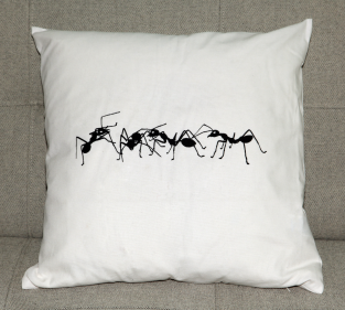 Ant Formation. Ant Design screen-print on 100% cotton cushion cover, with duck-feather filled pad. 45x45cm.